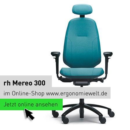 rh Mereo Ergonomischer Bürostuhl Modell 300 mit Armlehnen und Nackenstütze im Online-Shop der ErgonomieWelt