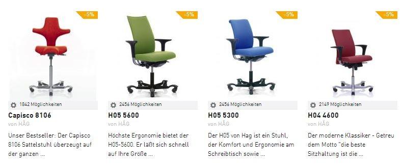 HAG Bürostuhl H05 H04 und Sattelstuhl Capisco in der ErgonomieWelt